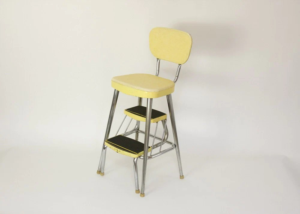 kitchen step stool with seat brass faucet mid century yellow chair and