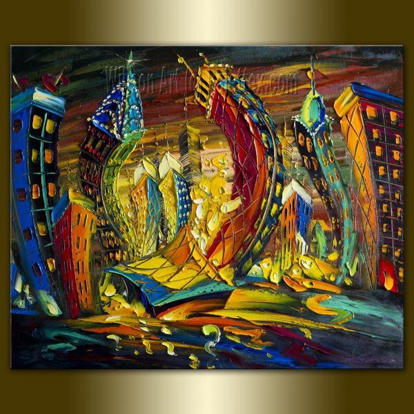 Original Cityscape Painting Oil Canvas Palette Knife