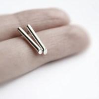 Line silver bar earrings sterling silver bar stud earrings