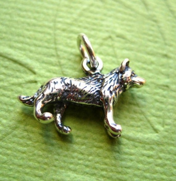 Sterling Silber 3D Wolf Anhnger oder Charm