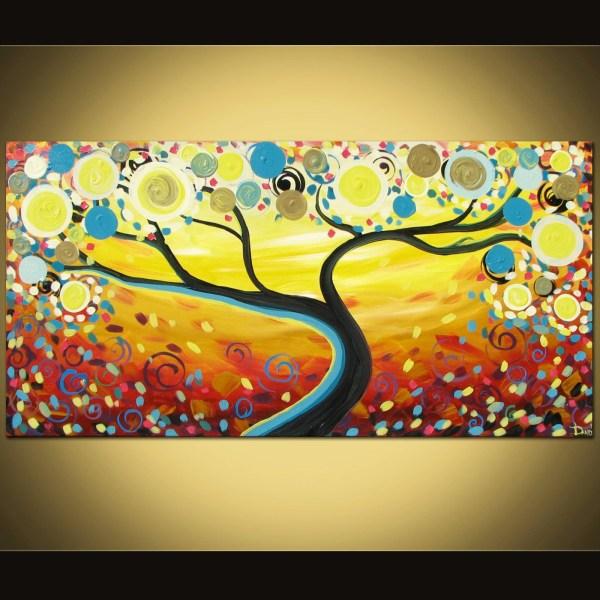 Original Abstract Painting Swirl Tree Acrylic Art Canvas