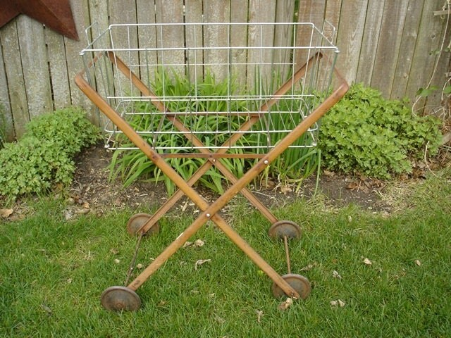 Vintage Metal Rolling Laundry Cart Wire Basket