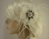 Bridal Feather Fascinator, Bridal Fascinator, Feather Fascinator, Fascinator, Feather Flower, Wedding Veil, Bridal Veil