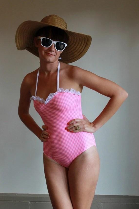 Vintage 80s Swimsuit  One Piece Bathing Suit  Gingham Plaid