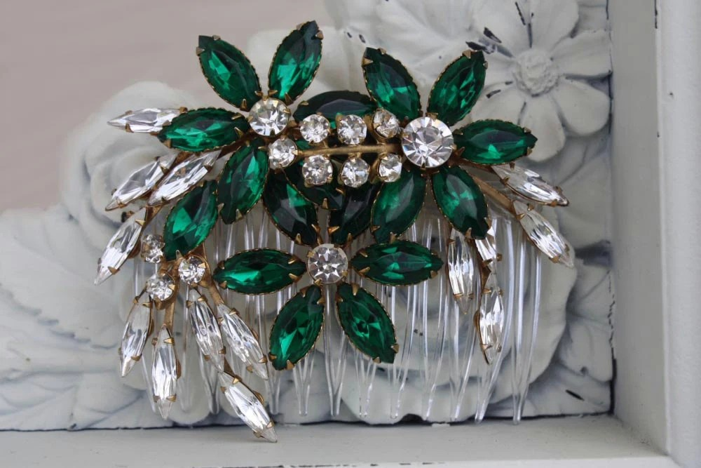Bridal Hair Comb Green Wedding Emerald Green Green Hair