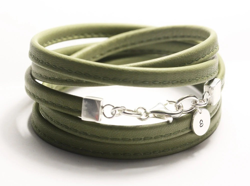 Cactus green leather wrap, initial tag, flat sewn nappa leather, sterling silver, custom size - simplyyoujewelry