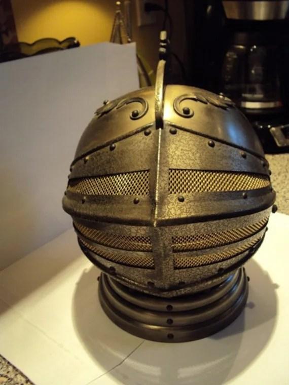 Vintage Knights Helmet wBar Set Inside Music Box Plays