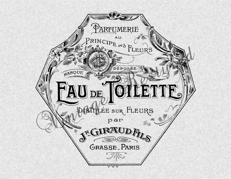 Vintage French Perfume Label Instant Download by