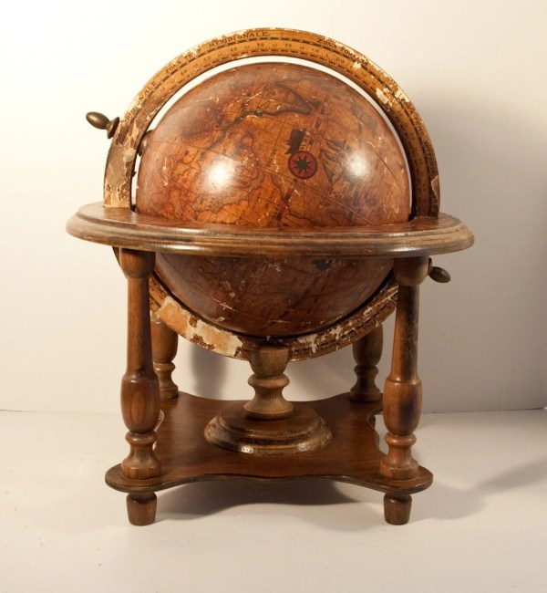 Large Olde World Globe Wooden Stand Steampunk Furniture