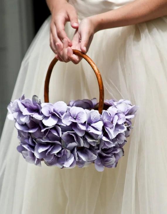 Lavender Flower Girl Basket wedding basket simple by MirelaOlariu
