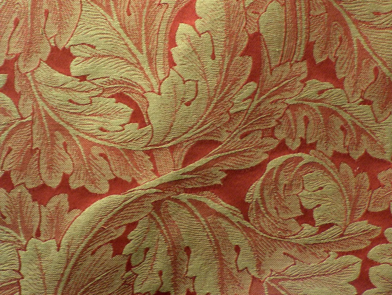 Reverse Weave Acanthus Leaf Fabric in Red and Tan