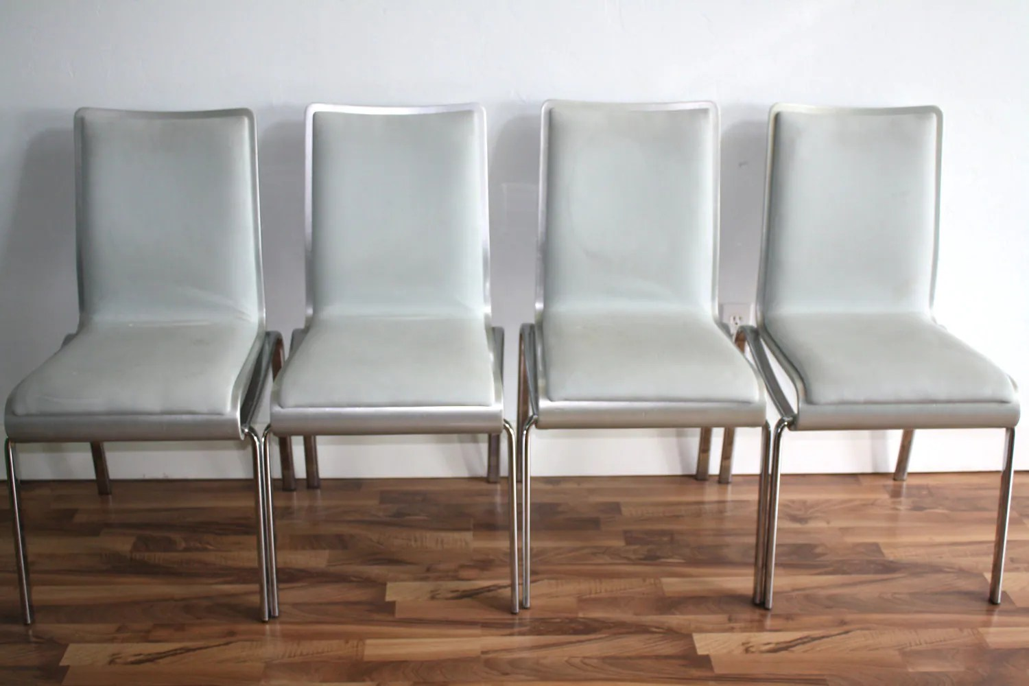 Silver Dining Chairs Set Of 4 Leather Dove Gray And Silver Dining Chairs