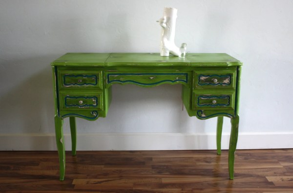 Green And Teal Vintage French Provincial Desk Vanity