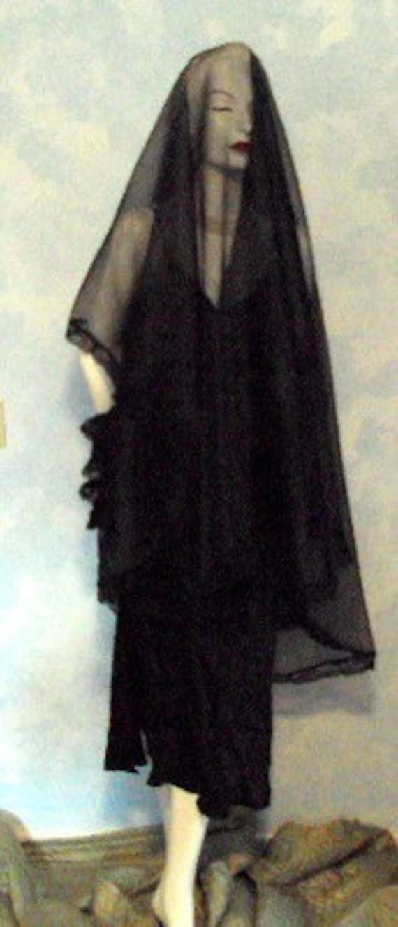 Black Dramatic Sheer Beautiful Lace Floor Length Gothic