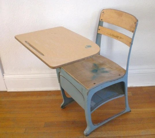 Vintage Childs School Desk and Chair Wood Metal Mid