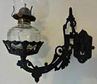 Vintage Wilton Cast Iron Oil Lamp Wall Bracket Wall Hanging
