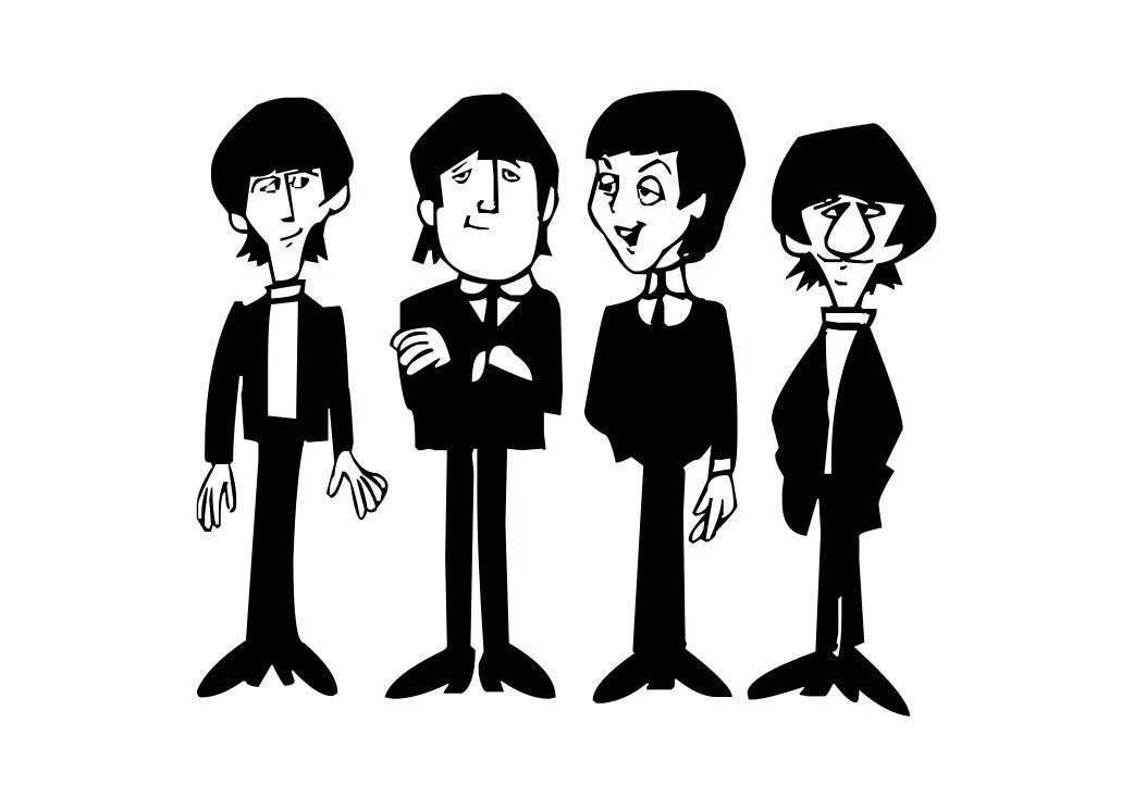 Beatles Cartoon Computer Sticker Decal for Computer Wall Car