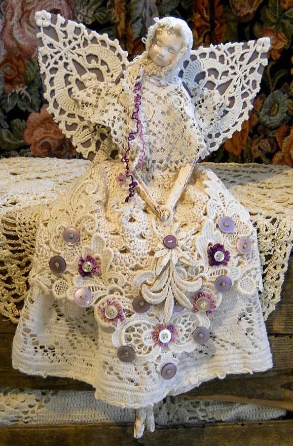 Angel Art Doll Handmade Of Paper Clay Fabric Body Vintage