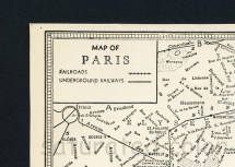 Paris Map Vintage 1940s City Streets Of France