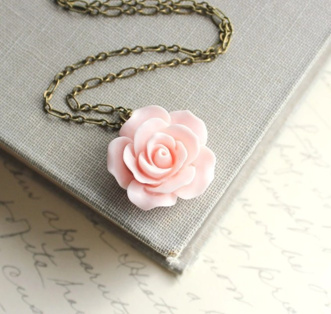 Pink Rose Necklace Country Chic Flower Jewelry Pastel Fashion Floral Jewellery Bridesmaids Jewelry Bridal Necklace Botanical French Style