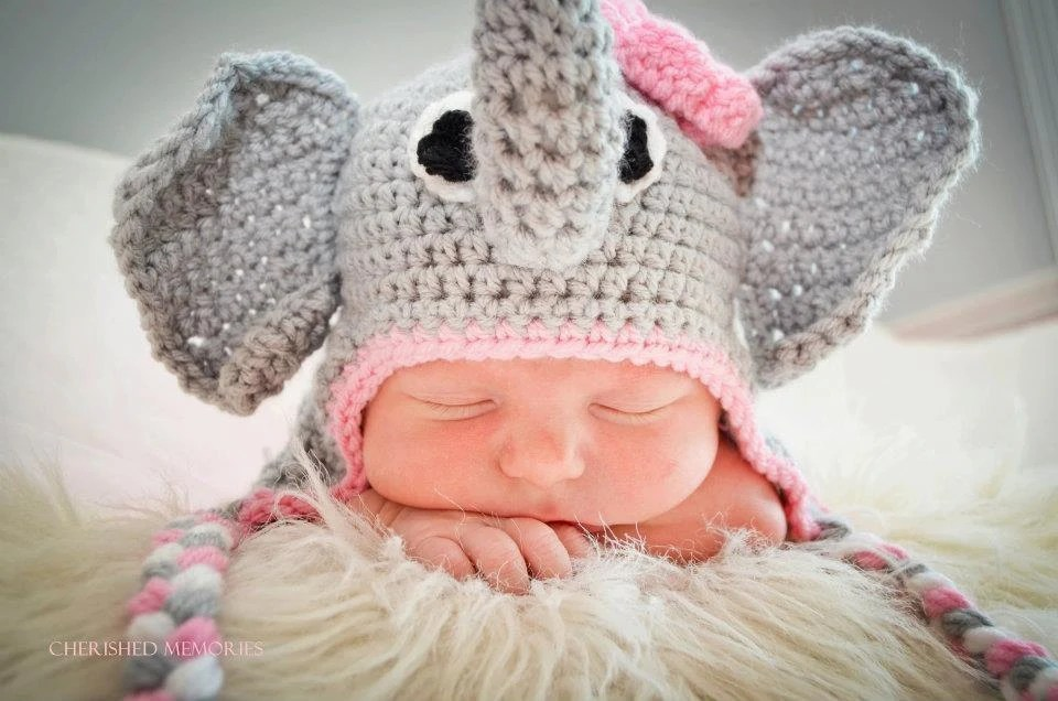 Elephant Earflap Beanie Hat with Pink FlowerBaby Shower