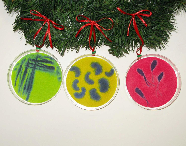 Petri Dish Christmas Ornaments Set Of Three