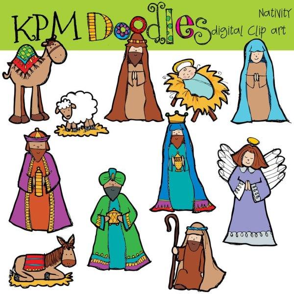 nativity digital clip art kpmdoodles
