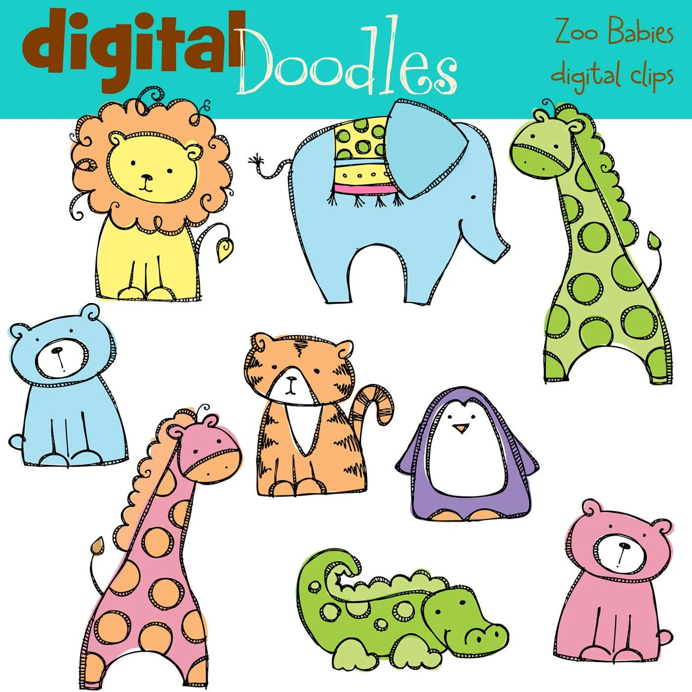 Kpm Baby Zoo Animals Digital Clipart