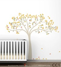 Fall Tree Extended Wall Decal Yellow Beige Brown Green