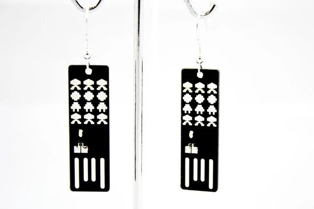 Items similar to Space Invasion USB Circuit Board Earrings