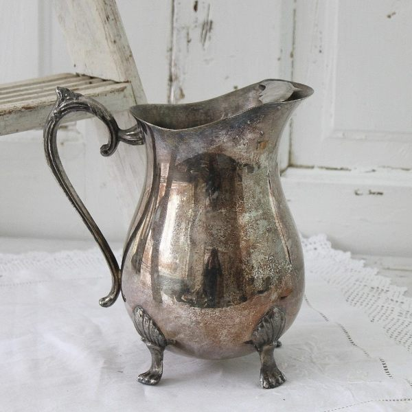 Large Tarnished Silver Pitcher Urbanfarmgirlandco