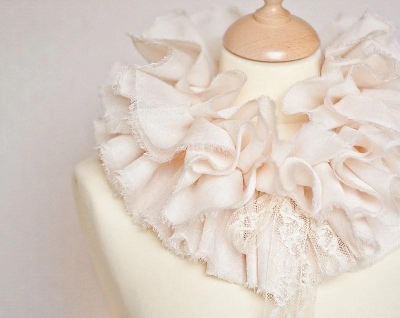 Ruffled Collar Scarf Capelet Shrug Wedding Shabby Chic