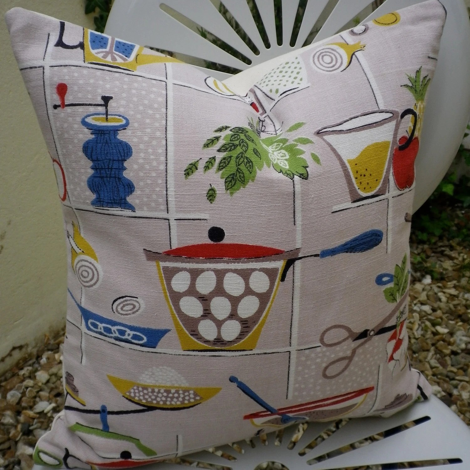 Vintage 1950s Kitchen Utensils Fabric Cushion Pillow