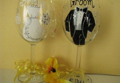 Personalized Painted Wine Glasses Wedding