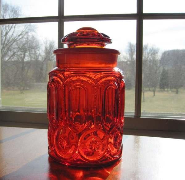 Orange Glass Canister Set