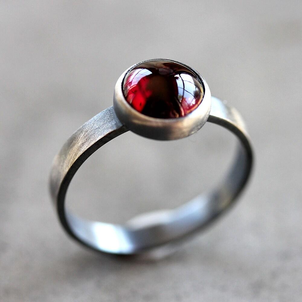 Garnet Ring Black Cherry Red Garnet Gemstone Roughed Up