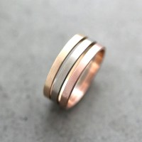 Gold Wedding Band Stacking Rings Mixed Metal 2mm Recycled 14k