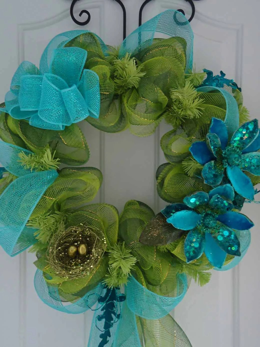 Items similar to Welcome Spring Mesh Wreath  Lime Green Turquoise Teal Dragonfly Sequined