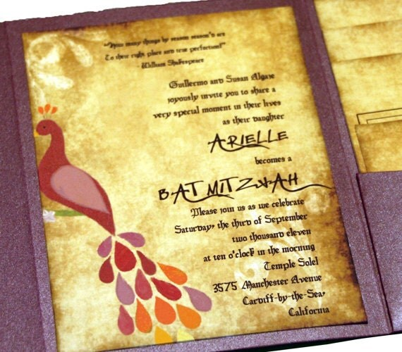 Peacocks And Parchment Modern Pocket Fold Wedding Invitation