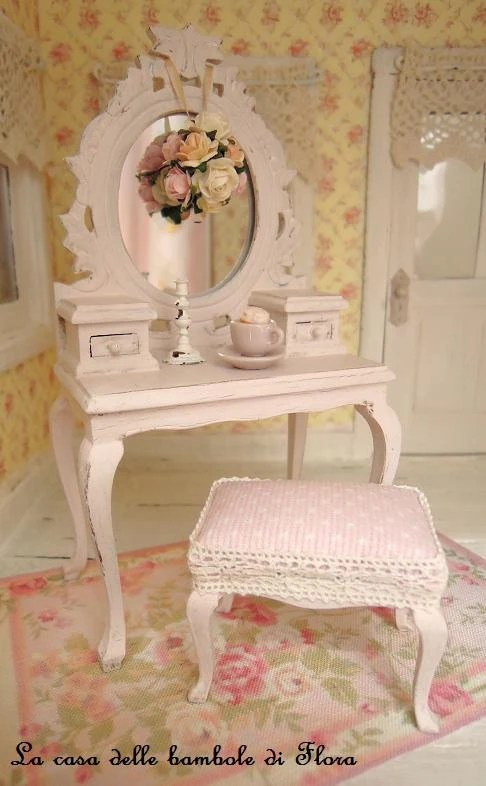 RESERVED Pale Pink Princess dressing table and stool 112