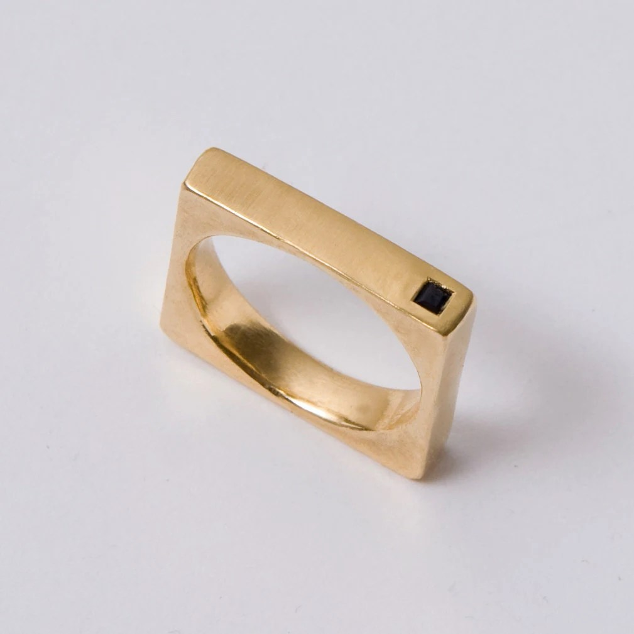 Square Ring Black Diamond Ring Gold Mens Band 14K Gold