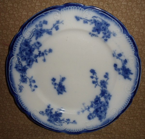 Antique Flow Blue 9 Plate Grindley Marechal Neil Rose
