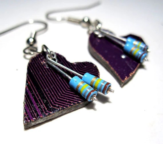 Circuit Board Earrings Heart Purple Computer Jewelry Valentines Geek