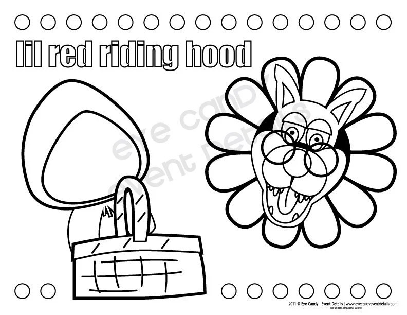 Little Red Riding Hood Photo Booth Props / Coloring Pages