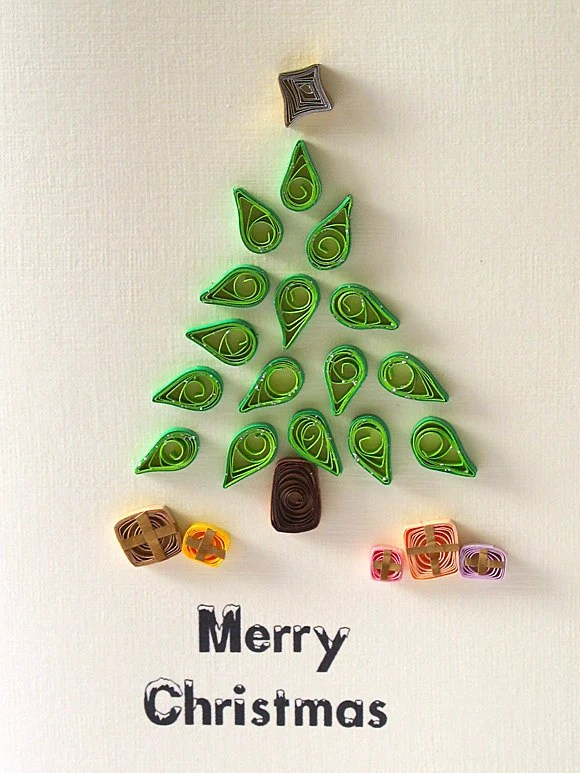 Items Similar To CHRISTMas Tree Quilled Card Handmade