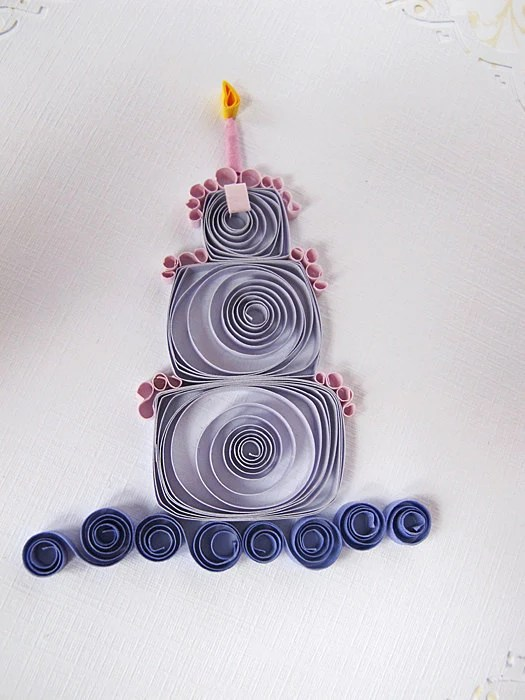 Quilled Birthday Card Cake Candels Purple Bow Ribon Green