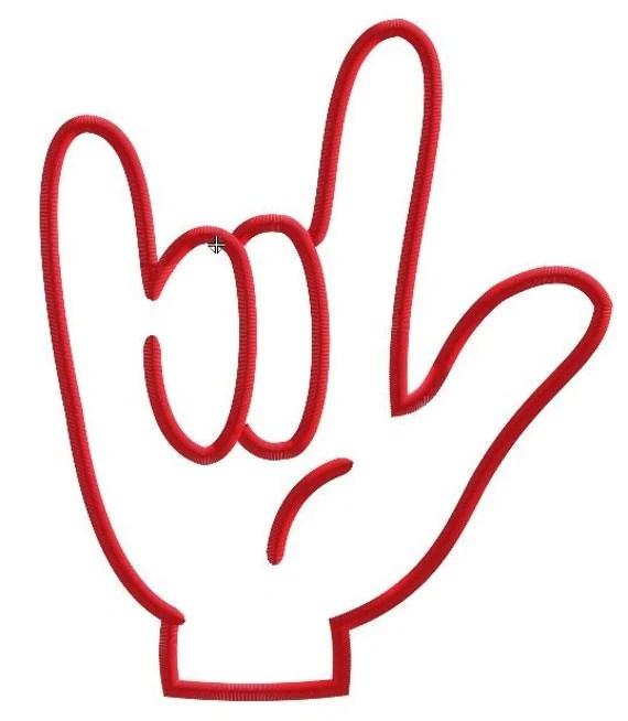 Download I Love You Sign Language Machine Applique Embroidery Design