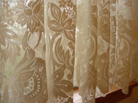 Vintage New Orleans Cream Lace Curtain Set