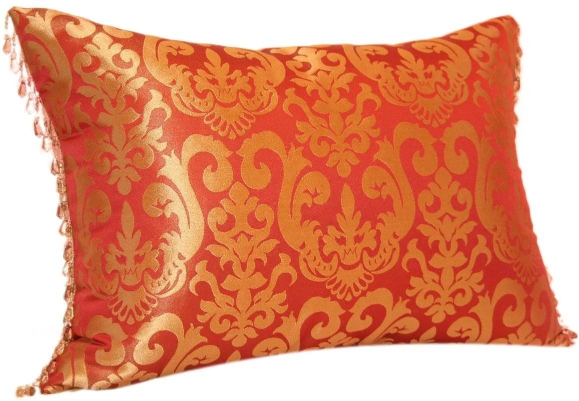 SALE Red and Gold Decorative Pillow with Bead Lumbar Jacquard