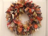 Fall Wreath Autumn Wreath Ribbon Wreath Fabric Wreath
